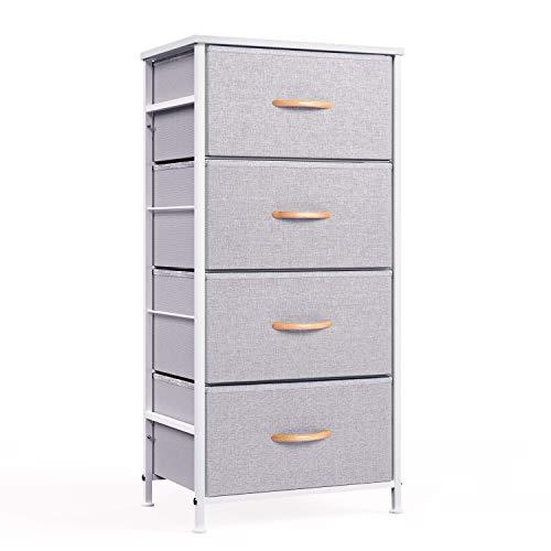 ROMOON 4 Drawer Fabric Dresser Storage Tower Organizer Unit for Bedroom Closet Entryway Hallway Nursery Room - Gray