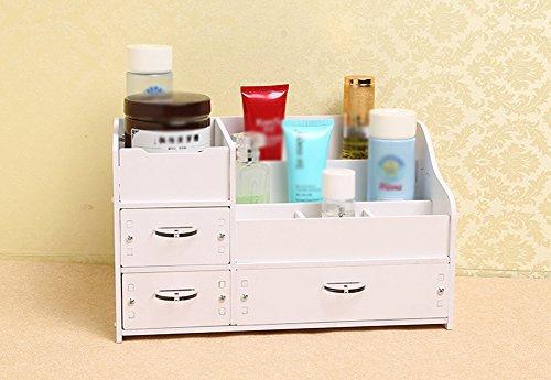 VERCART Wooden Dresser Desktop Cosmetic Storage Box Large Wooden Drawer with White Skin Storage Box Finishing