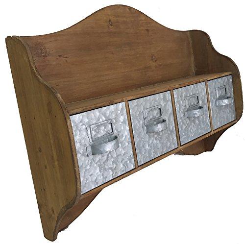 23 Wood Shelf with Metal Drawers