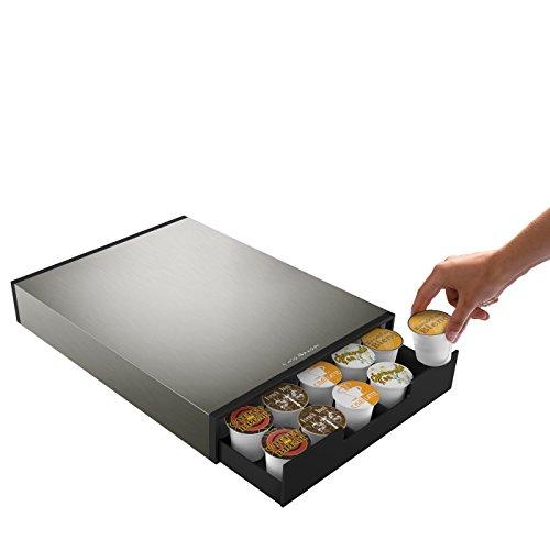 Mind Reader Tinny 35 Capacity Metal Coffee Pod Drawer SilverBlack