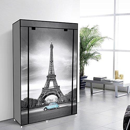 42 Portable Closet Wardrobe Non Woven Fabric Canvas Cloth Organizer Storage Unit 5 Shelves Dresser - Eiffel Tower