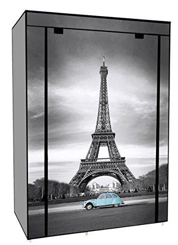 EBS Portable Non Woven Closet Canvas Wardrobe 5 Shelves Rack Storage Hanger Eiffel Tower