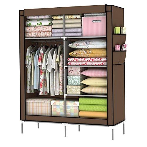 Holidayli Portable Wardrobe Clothes Closet Rack Storage Organizer Home DIY 43inch Coffee