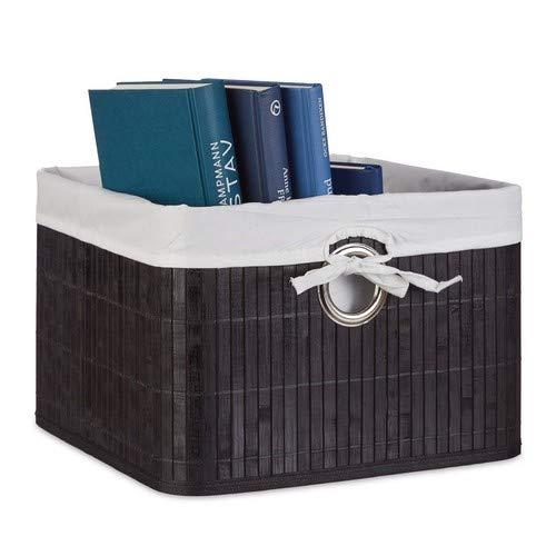 Relaxdays Bamboo Storage Basket 20 x 31 x 31 cm Storage Shelf with Removable Cover Decorative Storage Box with Handles Black