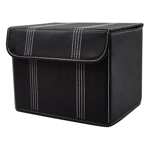 The Lucky Clover Trading Roosevelt Faux Leather Storage Box with Lid Black Basket