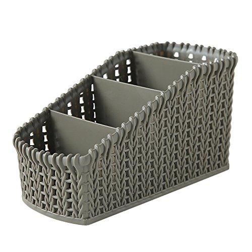 xiannv 1Pcs 4-Grid Plastic Office Desktop Storage Basket Storage Box Desktop Finishing Box Cosmetics Debris Case Storage Cube Basket Bins Organizer