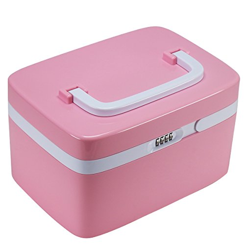 Combination Lock Storage Box EVERTOP Multi-function Storage Bins with Compartments and Removable Dividers for Cosmetics Makeup Brushes CD Essential Oils Arts Crafts Medical Supplies Pink
