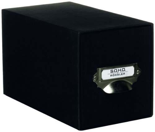 Rössler SOHO CD Storage Box with Metal Index Holder - Black