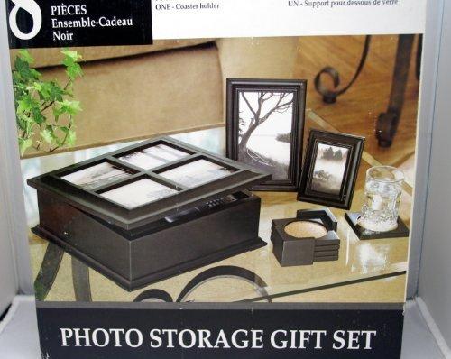 8 Piece Black Photo Storage Gift Set Photo Storage Box Picture Frame Coasters Coaster Holder