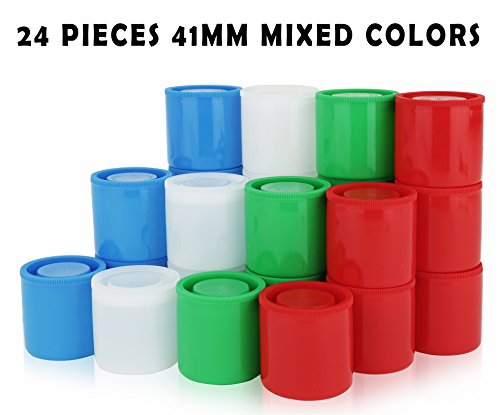 Homeio 41mm Film Canisters Multi-Color Red-Green-Blue-White  Airtight Photo Storage Boxes ideal for Photography- Negatives School Science Experiments Geocaching Travel-24 pieces
