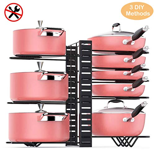 TOPNEW Pot Rack Organizer 3 DIY Methods Height Adjustable Cookware Organizer Kitchen Pan and Pot Lid Holder Upgraded