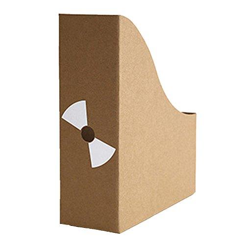 E-Livingstyle Kraft Paper Storage Box Office Creative Magazine File Book Holder Storage Shelf Organizer with Adhesive Labels Simple Desktop Storage ShelvesSet of 3 pack fan label