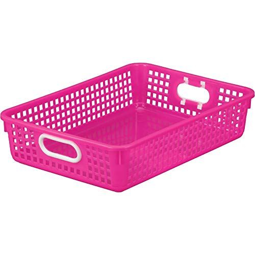 Really Good Stuff Plastic Desktop Paper Storage Baskets for Classroom or Home Use - 14x10 Plastic Mesh Baskets Keep Papers Crease-Free and Secure - Pink Neon Basket with White Handles 1 Basket