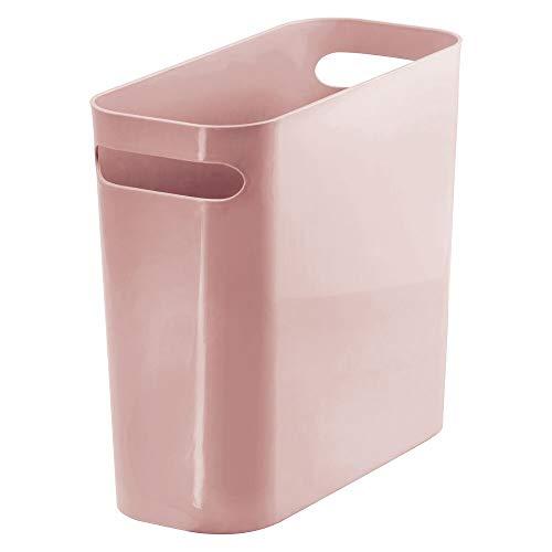 mDesign Slim Plastic Rectangular Small Trash Can Wastebasket Garbage Container Bin with Handles for Bathroom Kitchen Home Office Dorm Kids Room - 10 High Shatter-Resistant - Rosette Pink