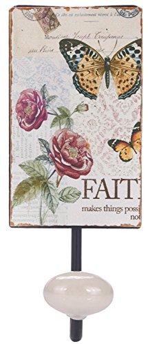 Rustic Metal Single Butterlfy Flower Coat Towel Decorative Wall Hooks