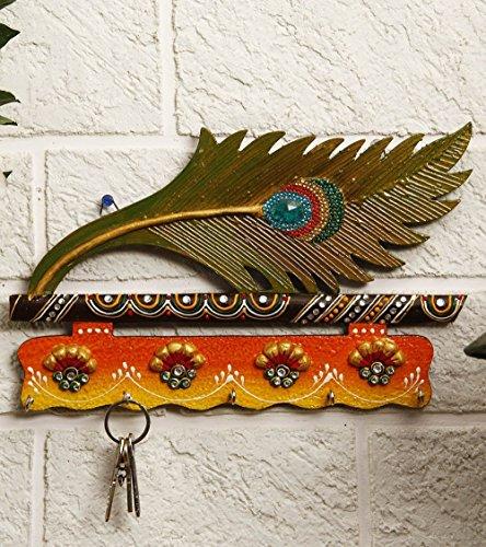 CraftVatika Artificial Peacock Feather Mor Pankh Decorative Key Hook Wooden Holder  Home Decor