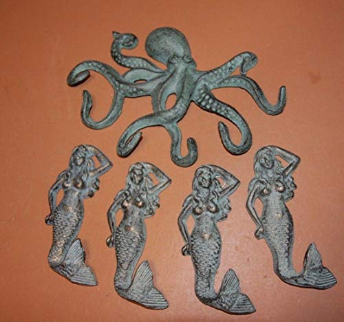 Southern Metal Mythical Mermaid Octopus Sailor Theme Bundle of 5 Wall Hooks Solid Cast Iron Nautical Sailor Coat Hat Towel Hooks