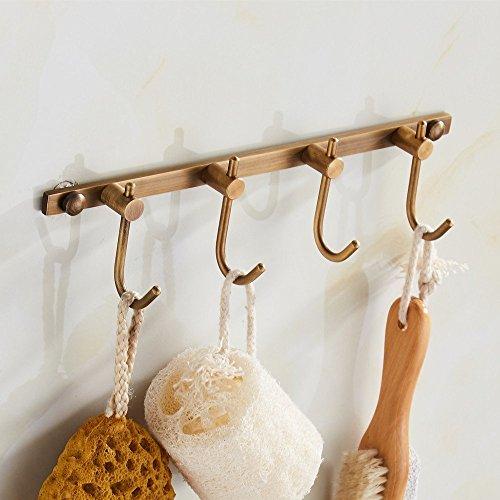 YUTU FGG00 Antique Brass Coat Hook Bathroom Wall Mounted Bronze Brushed Clothes Hooks Rack 4 Hooks