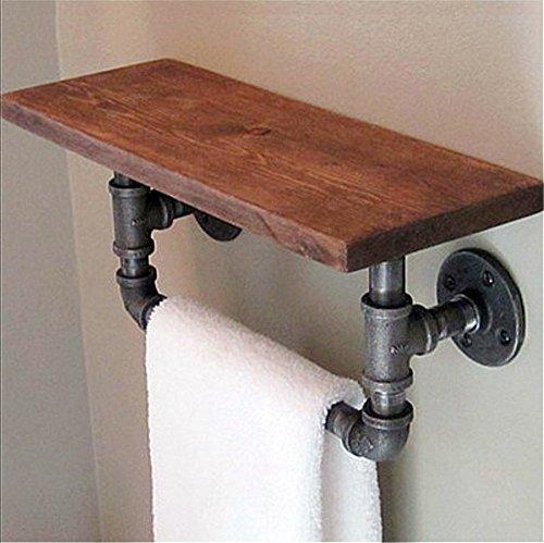 FHLYCF European style iron towel rack solid wood industrial water pipe bookshelf kitchen bathroom rack wall hanging board 502025cm