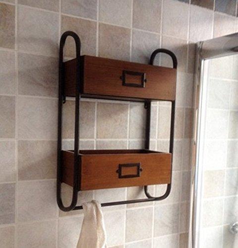 SS-Retro wrought iron Towel rack shelf solid wood racks bathroom rack