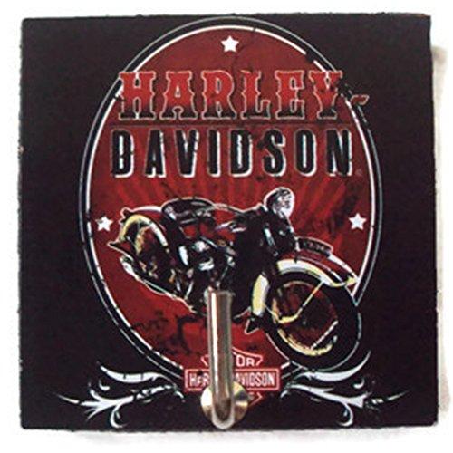 Agility Bathroom Wall Hanger Hat Bag Key Adhesive Wood Hook Vintage Black Harley Davidson Chopper Motorbike's Photo