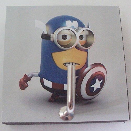 Agility Bathroom Wall Hanger Hat Bag Key Adhesive Wood Hook Vintage Captain America Minion's Photo