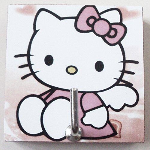 Agility Bathroom Wall Hanger Hat Bag Key Adhesive Wood Hook Vintage The Angel Hello Kittys Photo