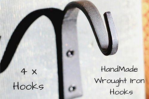 Wrought Iron Hooks Wrought Hooks Hanger Wrought Iron hooks for Lantern Wrought Iron Hooks for Coat Wrought Iron Hooks Rustic Wrought Iron Hooks for Hanging Wrought Iron Hooks Vintage 4-Hooks