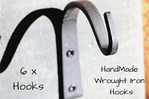 Wrought Iron Hooks Wrought Hooks Hanger Wrought Iron hooks for Lantern Wrought Iron Hooks for Coat Wrought Iron Hooks Rustic Wrought Iron Hooks for Hanging Wrought Iron Hooks Vintage- 6 Hooks