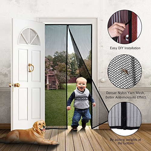 ONYADD df-1 Magnetic Screen Heavy Duty Mesh Curtain and Full Frame Hook&Loop FITS Door Size up to 36-82 Max Black