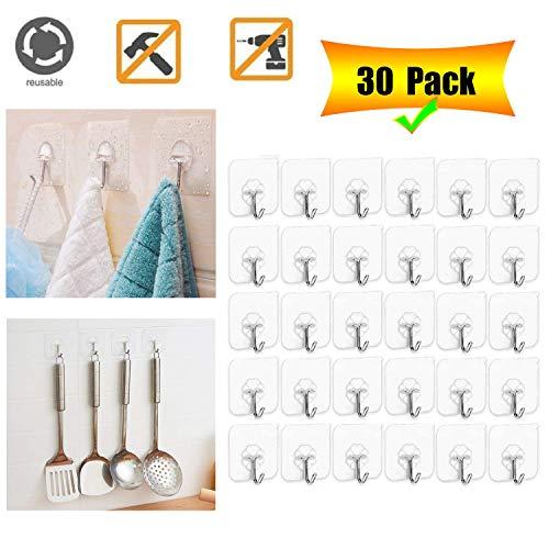 Adhesive Hooks Wall Hanger Hook Bathroom Kitchen Transparent Reusable Seamless Scratch Wall Hooks for Towel Loofah Bathrobe Coats Ceiling HangerHanging Waterproof Plastic Hooks -30 Packs