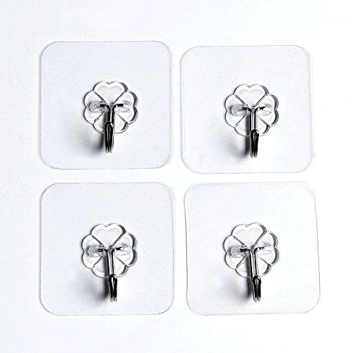 4pcs Transparent Reusable Heavy Duty Stick Wall Hook Hanger for Towel Clothes Bathroom Door