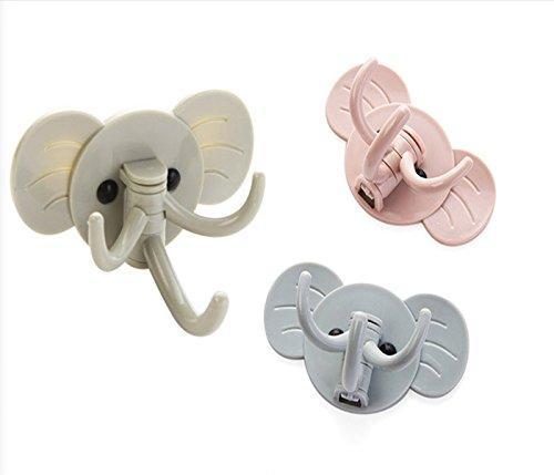Set of 3 Self Adhesive Hooks Sundarling Elephant Wall Hooks Sticky Hooks for KeysHatsTowel HomeBathroomKitchen