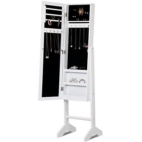 Yaheetech Mirrored Jewelry Cabinet Armoire Mirror Organizer Storage Box Standing White