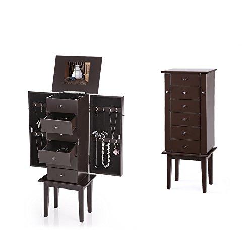 iKayaa Standing Jewelry Armoire with Flip-top Mirror for Bedroom