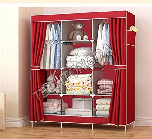 High Reinforced Cloth Wardrobe Closet Rack Shelves Furniture Armoire Organizer251290
