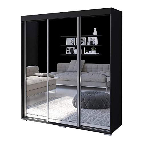 Aria 3 Door 71 Wide Modern High Gloss Wardrobe Armoire Black with MirrorMirror