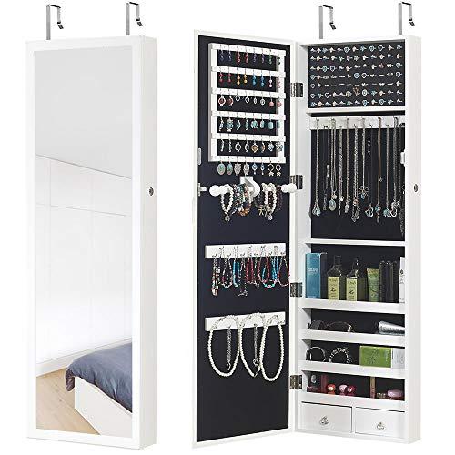 GISSAR Jewelry Cabinet Jewelry Armoire Wall Door Mount Mirror Storage Locking Jewelry OrganizerWhite