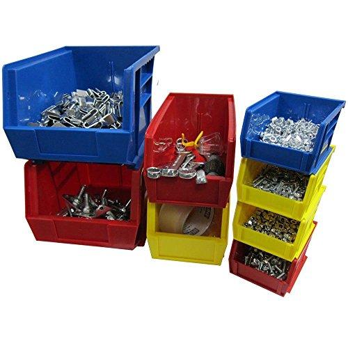 11 in W x 10-78 in D x 5 in H Stackable Plastic Storage Bin in Blue 6-Pack