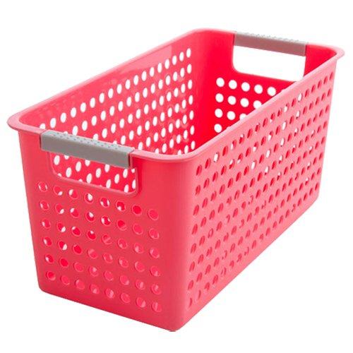 SODIALR Japanese-style Stackable Plastic Storage BasketsBins Organizer Fruit Toys Clothes Glove Box Debris Storage Basket redL342016cm