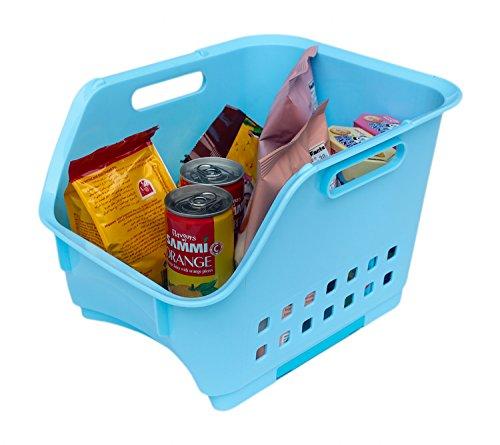 Scoop Stackable Plastic Storage BasketStacking Bin Organizer with Handles1-PackBlueHonla
