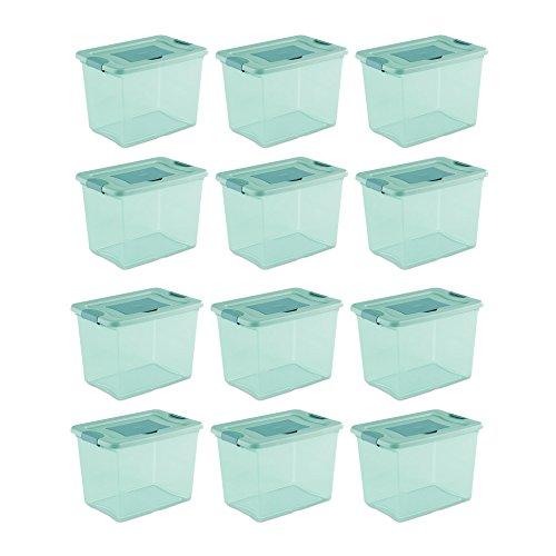 Sterilite 25 Quart Fresh Scent Stackable Plastic Storage Box Container 12 Pack