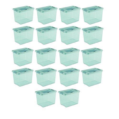 Sterilite 25 Quart Fresh Scent Stackable Plastic Storage Box Container 18 Pack