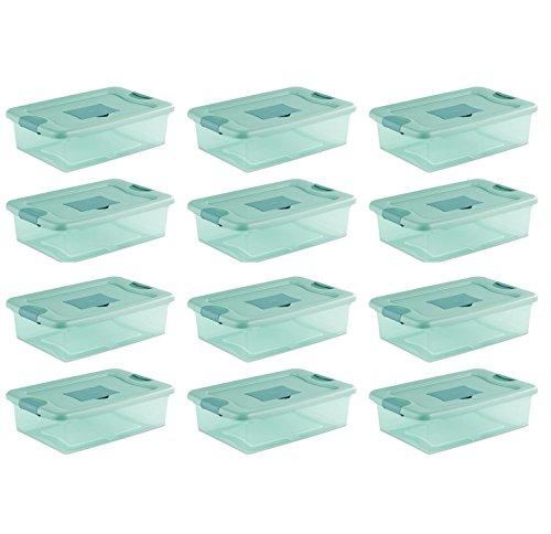 Sterilite 32 Quart Fresh Scent Stackable Plastic Storage Box Container 12 Pack