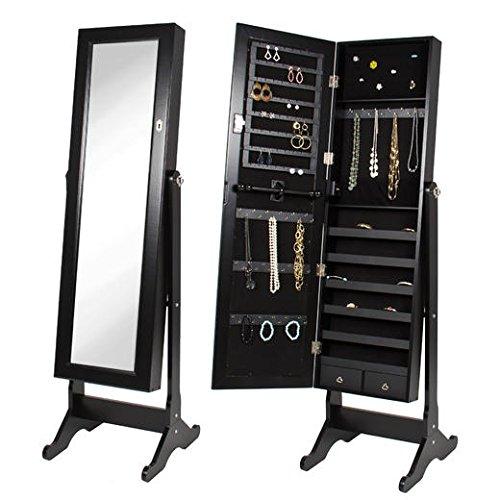 BTExpert Premium Wooden Jewelry Armoire Cabinet Floor Stand Safety Lock Organizer Storage Drawer Cheval Mirror Rings Necklaces Bracelets Black