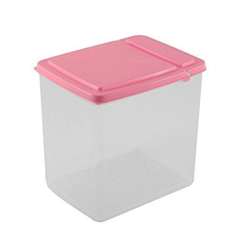 DealMux Plastic Kitchen Pantry Refrigerator Freezer Transparent Storage Box Organizer 15x11x16cm Pink