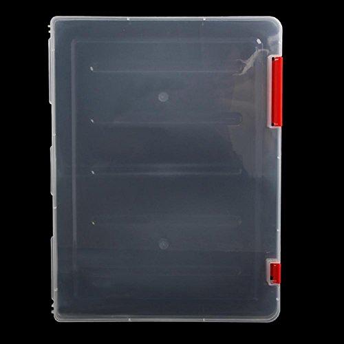 Ladaidra A4 Transparent Storage Box Clear Document Paper Filling Case File Plastic Red