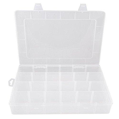 Viyo 24 Compartments Transparent Storage Box PlasticPP Adjustable Jewelry Tool Box Container