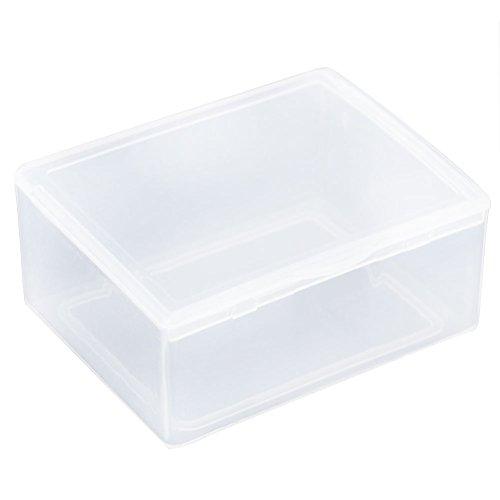 Zeroyoyo 3pcs Mini Rectangular Plastic Tool Parts Component Storage Box Clear Transparent with Cover 55x43x22CM