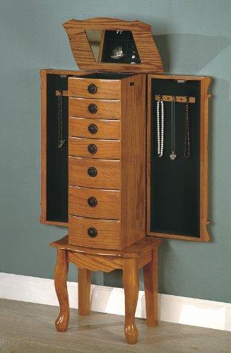 Classic Oak Finish Jewelry Storage Armoire with Mirror